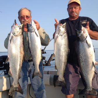 Lake Ontario charter boat fishing for King Salmon, brown trout and lake trout