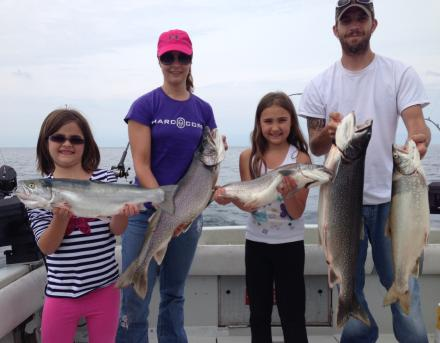 Charter boat fishiing on the easter basin of Lake Ontario for trout and king salmon, near the Salmon River, Pulaski NY